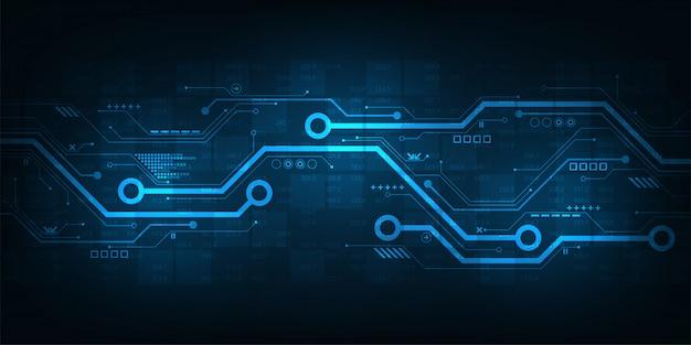 Conception de circuit numérique sur fond bleu foncé.