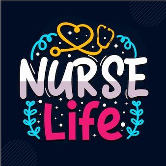 Conception de citations d'infirmière de la vie d'infirmière vecteur premium