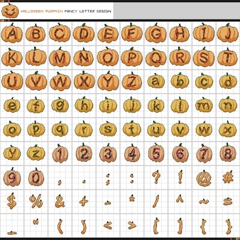 Conception de citrouille dhalloween lettre fantaisie pixel