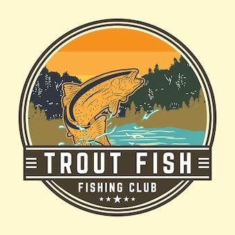 Conception de club de pêche avec illustration de poisson truite