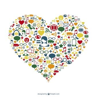 Conception de coeur de réseau social