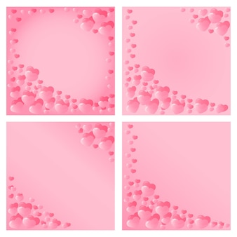 Conception de coeurs roses pour la saint-valentin. invitation pour fêtes, mariages, faire-part de bébé. un modèle pour un dépliant, un bon, une bannière, une carte de réduction, du papier d'emballage.