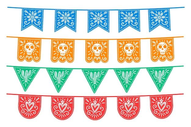 Conception de collection de banderoles mexicaines colorées