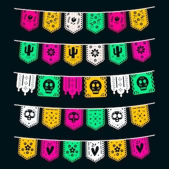 Conception de collection de banderoles mexicaines