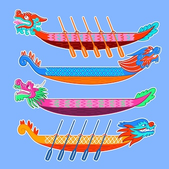 Conception de collection de bateaux-dragons