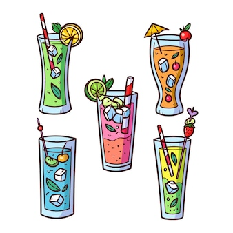 Conception de collection de cocktails dessinés à la main