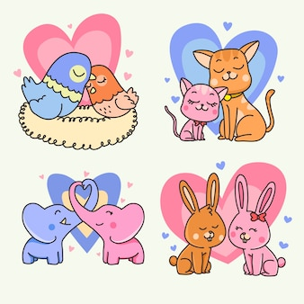 Conception de collection couple animal saint valentin