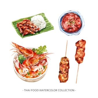 Conception de collection de cuisine thaïlandaise isolée illustration aquarelle.