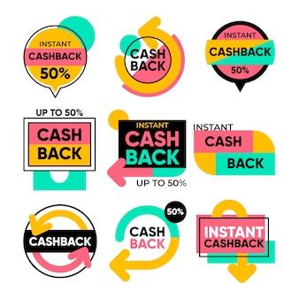 Conception de la collection d'étiquettes cashback