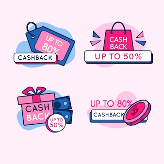 Conception de la collection d'étiquettes cashback