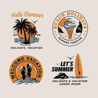 Conception de collection d'étiquettes d'été