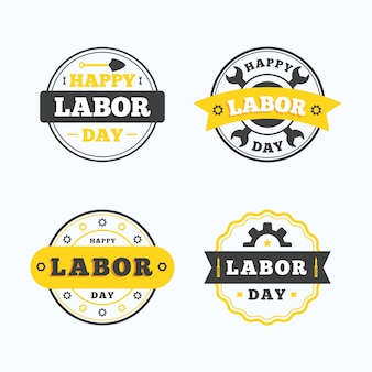 Conception de la collection d'étiquettes de la fête du travail