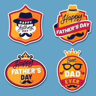Conception de collection d'étiquettes de fête des pères