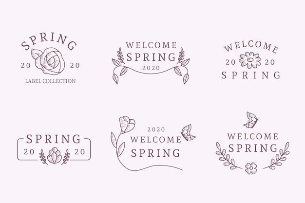 Conception de collection d'étiquettes de printemps dessinées à la main