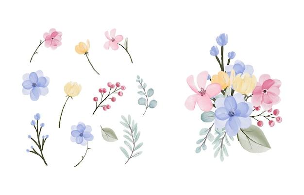Conception de collection de feuilles et de fleurs à l'aquarelle