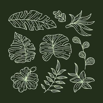 Conception de collection de fleurs et de feuilles tropicales