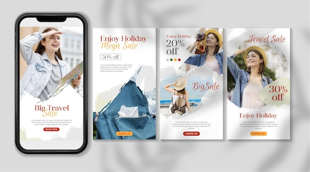 Conception de collection d'histoires instagram de vente de voyage