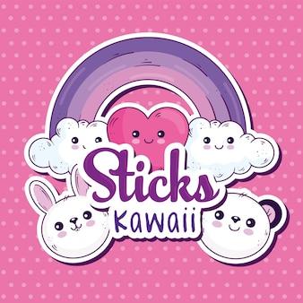Conception de collection d'icônes de dessins animés de bâtons kawaii, thème de personnage mignon