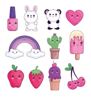 Conception de collection d'icônes de dessins animés kawaii, thème de personnage mignon