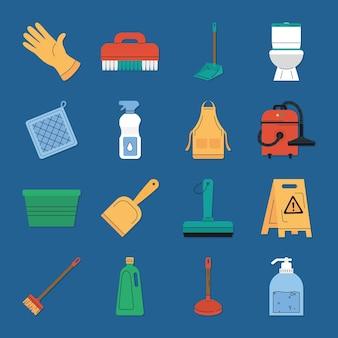 Conception de collection d'icônes de ménage de nettoyage
