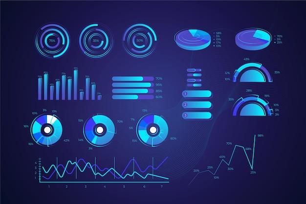 Conception de collection d'infographie de technologie