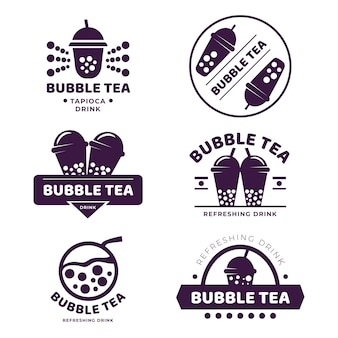 Conception de collection de logo bubble tea