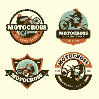 Conception de collection de logo de motocross