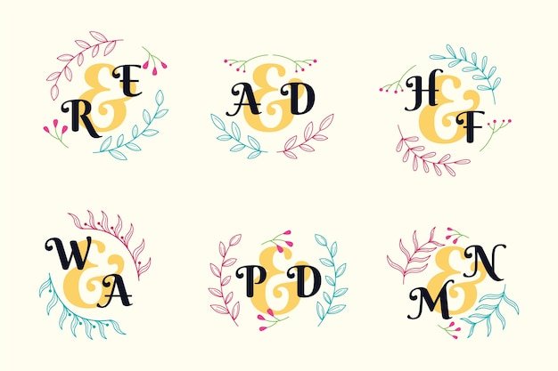 Conception de collection de monogramme de mariage coloré