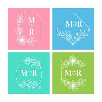 Conception de collection de monogramme de mariage coloré