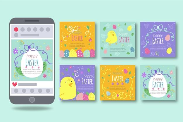 Conception de collection de post instagram de jour de pâques