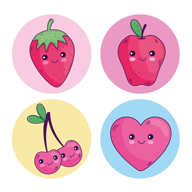 Conception de collection de symboles de dessins animés kawaii, thème de personnage mignon
