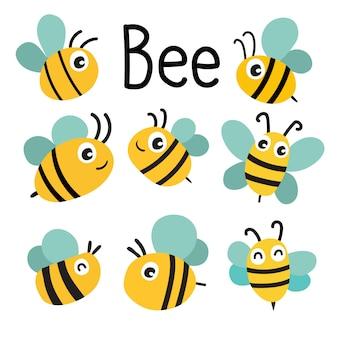 Conception de collection de vecteur abeille