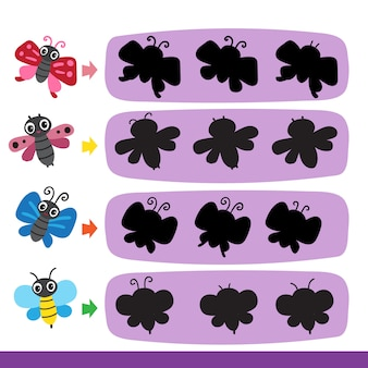 Conception de collection de vecteur de jeu papillon