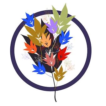 Conception colorée abstraite florale avec différentes feuilles d'arbre