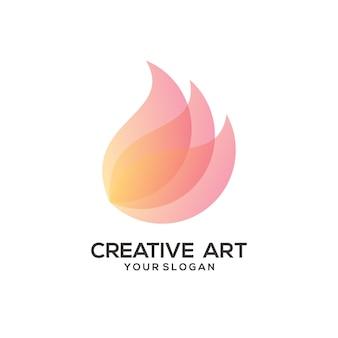Conception colorée de dégradé de logo d'aile de fleur