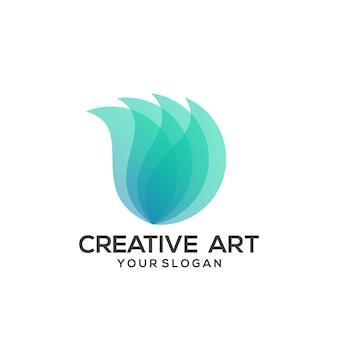 Conception colorée de dégradé de logo d'ailes de feuille