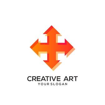 Conception colorée de dégradé de logo de flèche