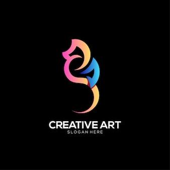 Conception colorée de dégradé de logo d'hippocampes