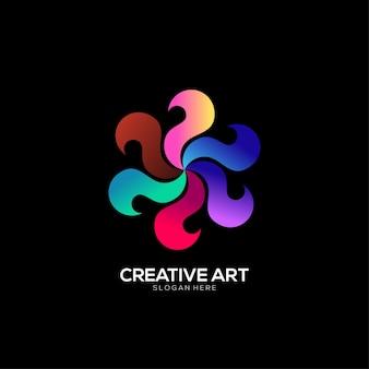 Conception colorée de dégradé de logo de spinner
