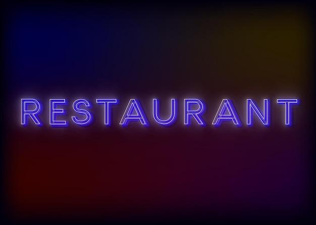 Conception colorée d'enseigne au néon de restaurant de restaurant de lumières au néon rougeoyantes pour votre entreprise