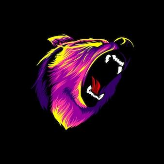 Conception colorée d'illustration vectorielle en colère grizzly
