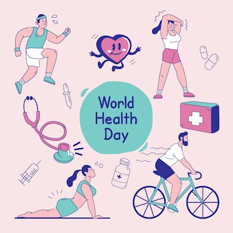 Conception colorée de la journée mondiale de la santé