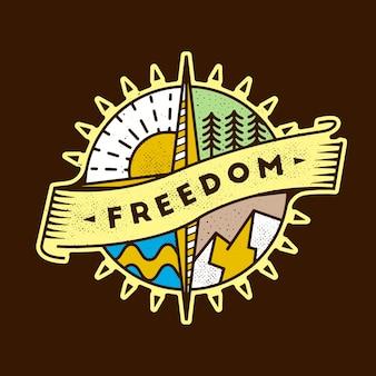 Conception colorée de paysage de liberté