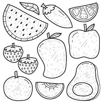 Conception de coloriage de dessin animé doodle fruits dessinés à la main