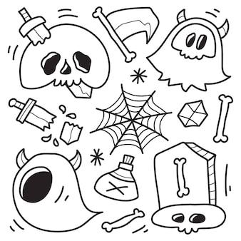 Conception de coloriage de dessin animé halloween doodle dessinés à la main