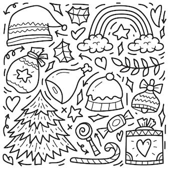Conception de coloriage dessin animé noël doodle dessinés à la main