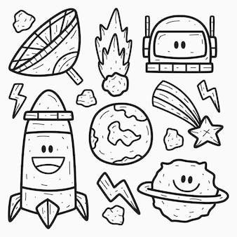 Conception de coloriage de doodle de dessin animé astronaute