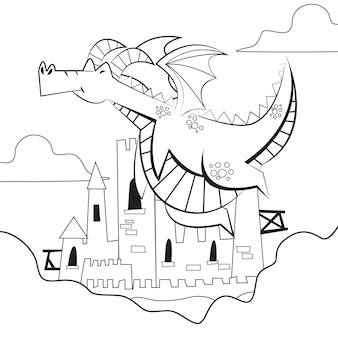Conception de coloriage avec dragon