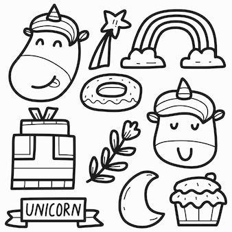 Conception de coloriage de licorne doodle dessiné à la main
