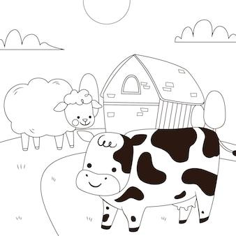 Conception de coloriage mignon avec vache